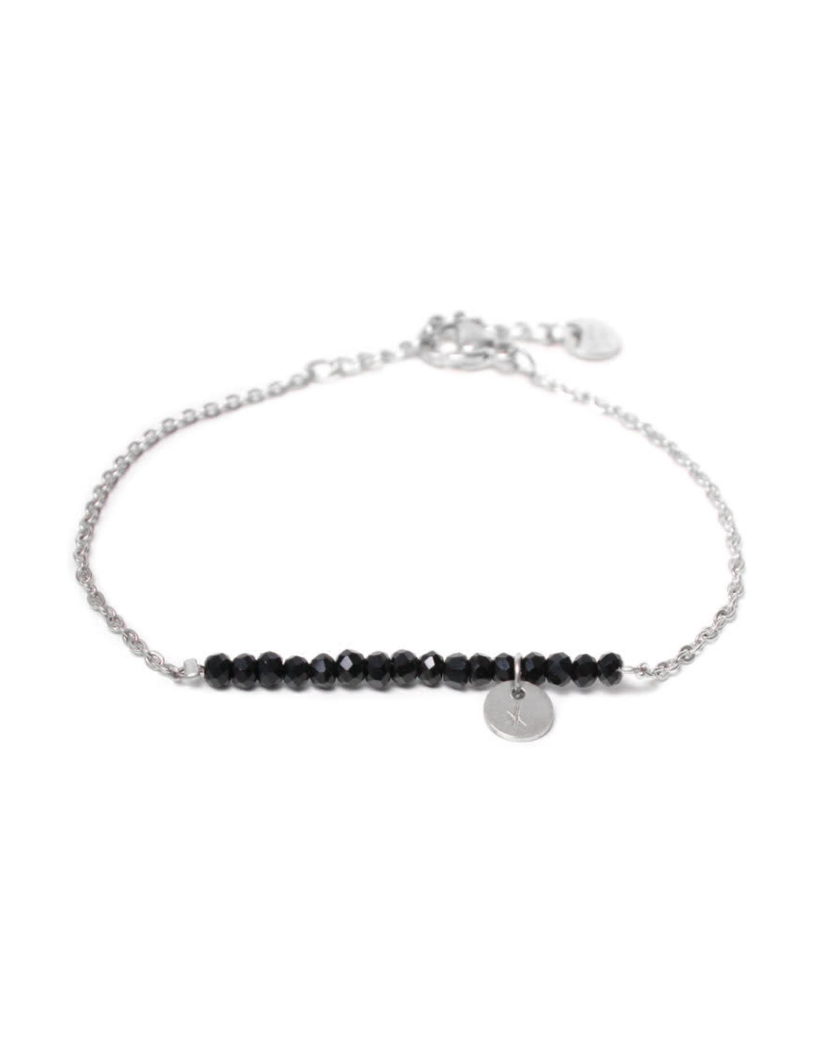 Label kiki label kiki bracelet black stone silver