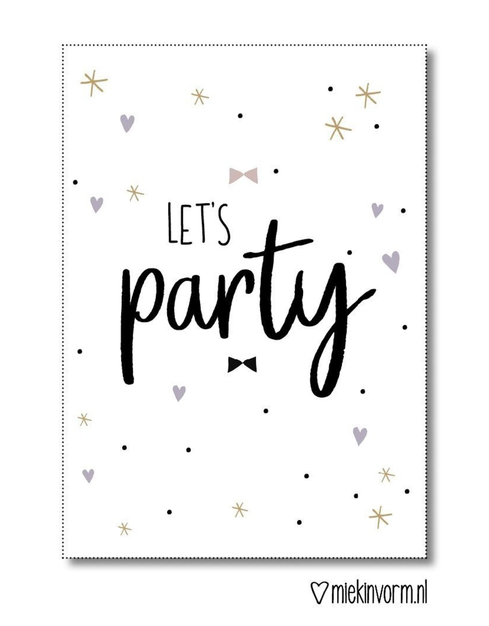 """Miek in vorm miek in vorm uitnodigingen """"let's party"""""""