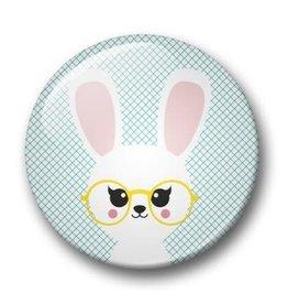 studio inktvis studio inktvis button 32 mm konijn met bril