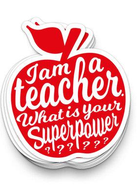 studio inktvis studio inktvis stickers XL I'm a teacher rood