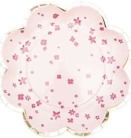 rico design rico design kartonnen bordjes fluo bloemetjes en gouden randje