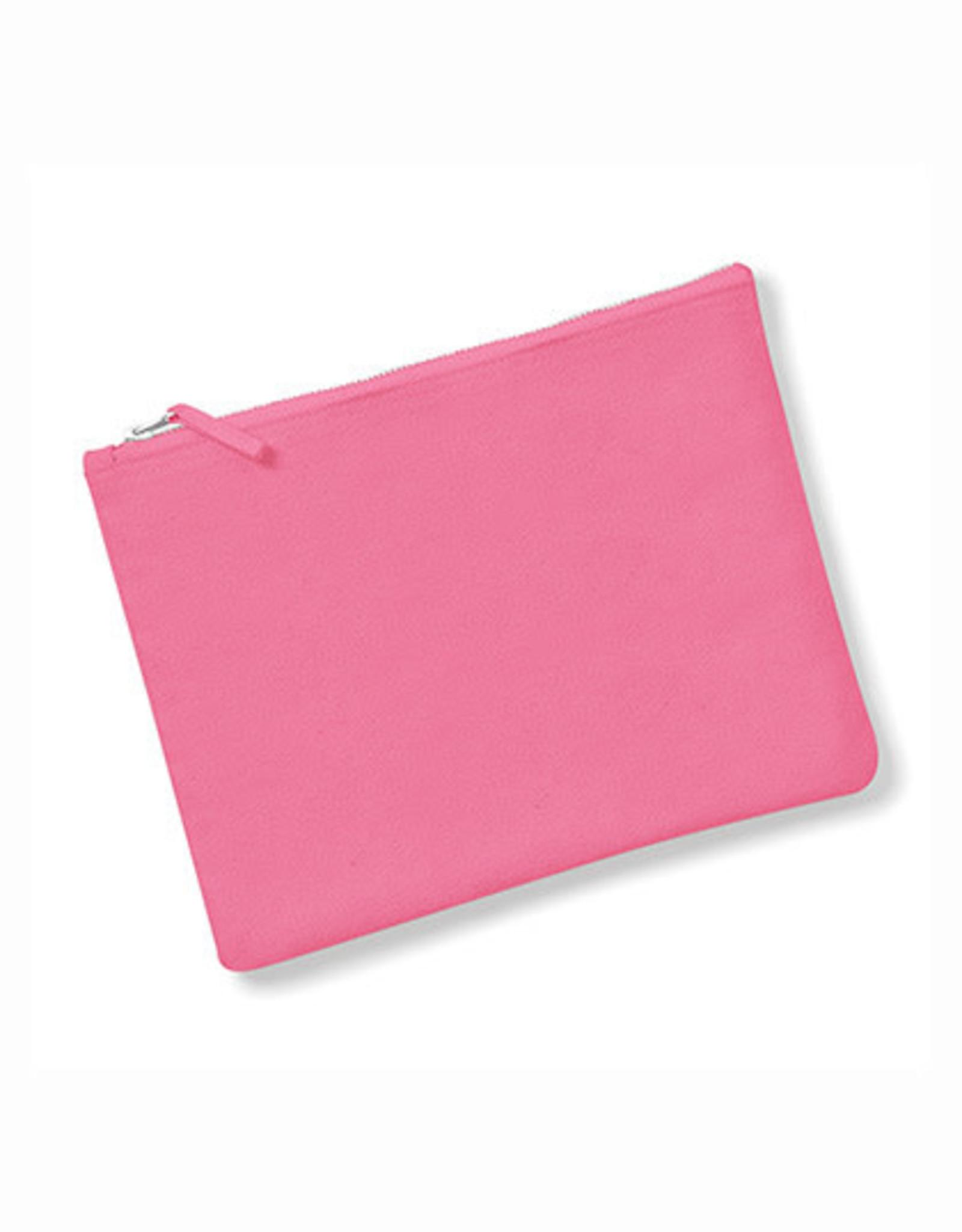 gepersonaliseerde ritstasje plat M 22,5 x 16 cm roze