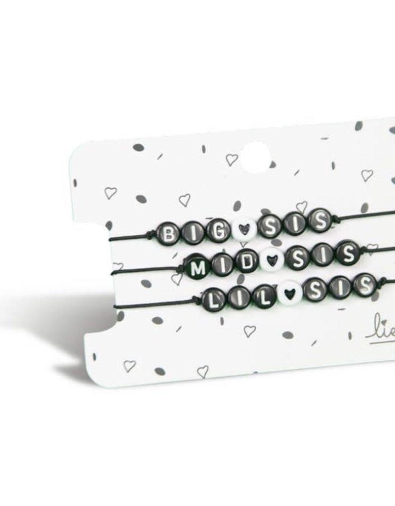 Lief label Lief label 3 armbandjes big mid lil sis
