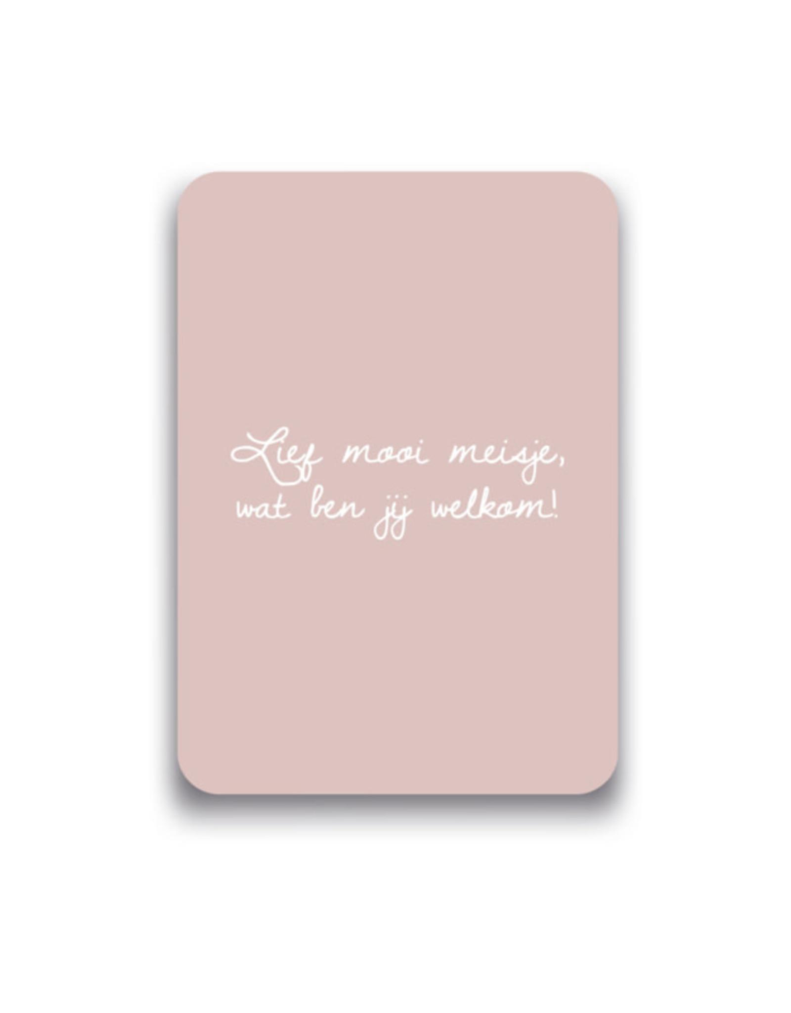 Mousie kaart a6 mousie: Lief mooi meisje, wat ben jij welkom!