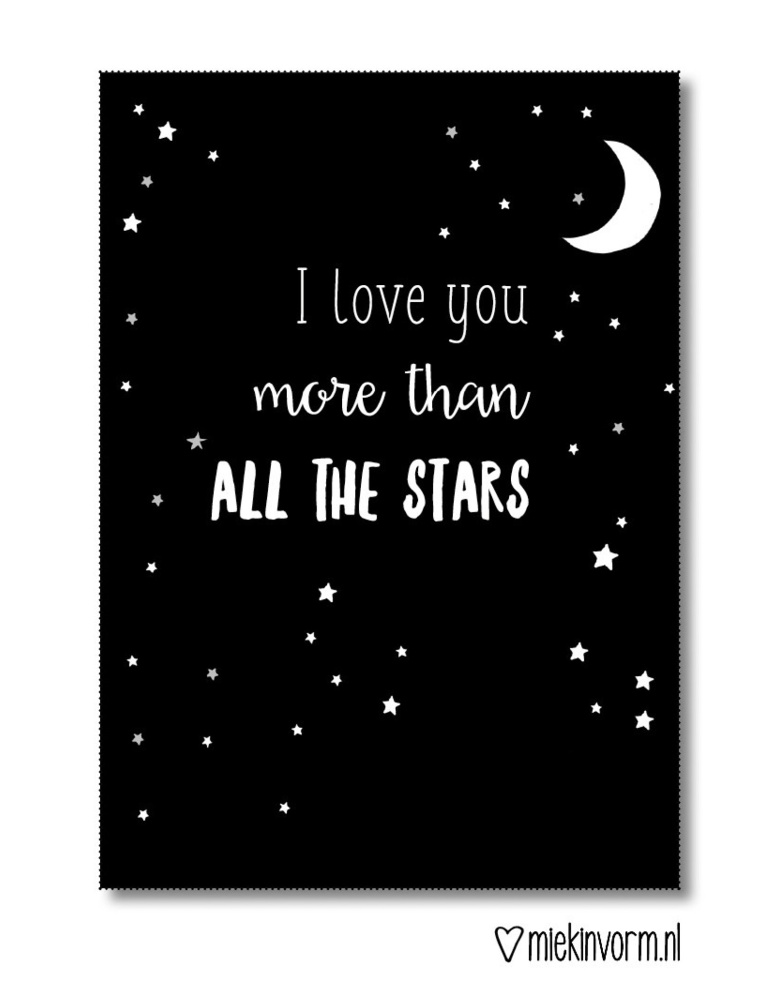Miek in vorm kaart a6 miek in vorm: i love you more than all the stars