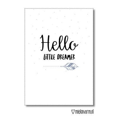 Miek in vorm kaart a6 miek in vorm: hello little dreamer