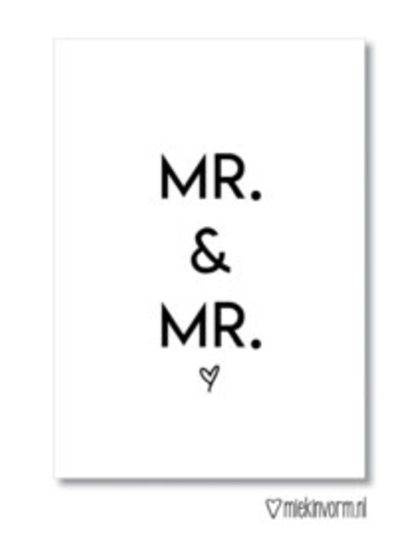 Miek in vorm kaart a6 miek in vorm: mr & mrs wit