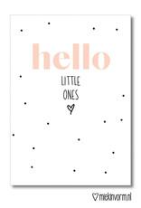 Miek in vorm kaart a6 miek in vorm: hello little ones