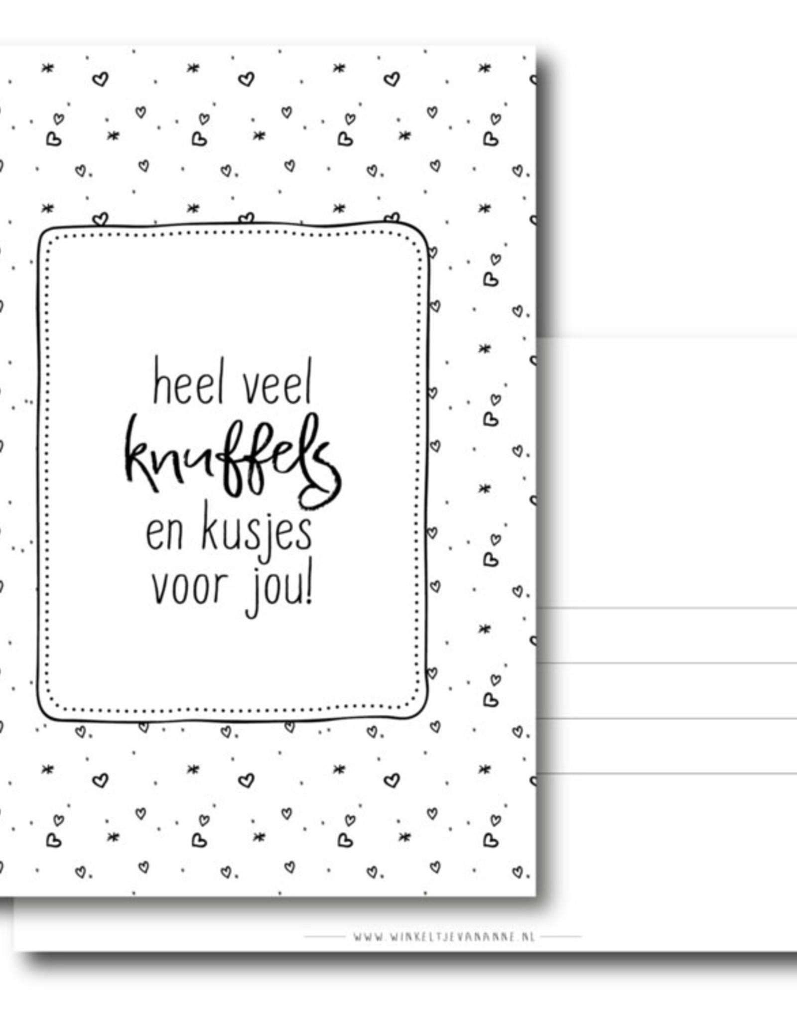 Winkeltje van Anne kaart a6 winkeltje van anne: heel veel knuffels en kusjes voor jou!