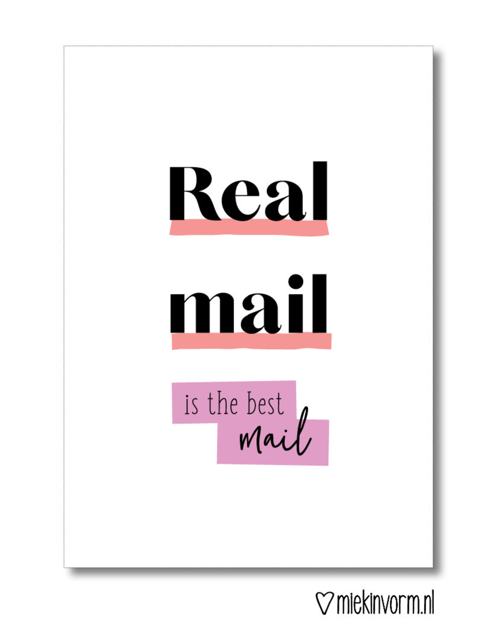 Miek in vorm kaart a6 miek in vorm: real mail is the best mail