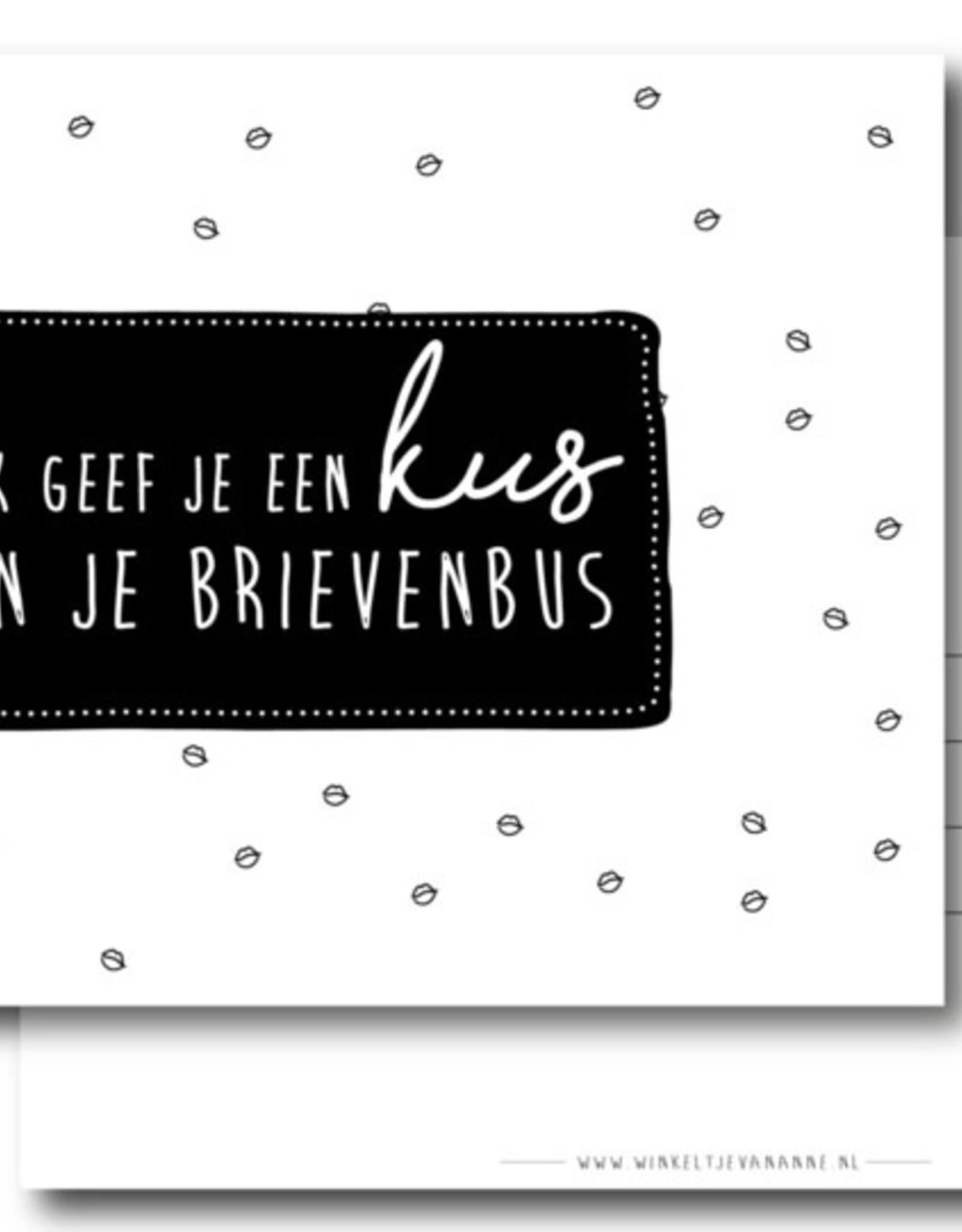 Winkeltje van Anne kaart a6 winkeltje van anne: ik geef je een kus in je brievenbus
