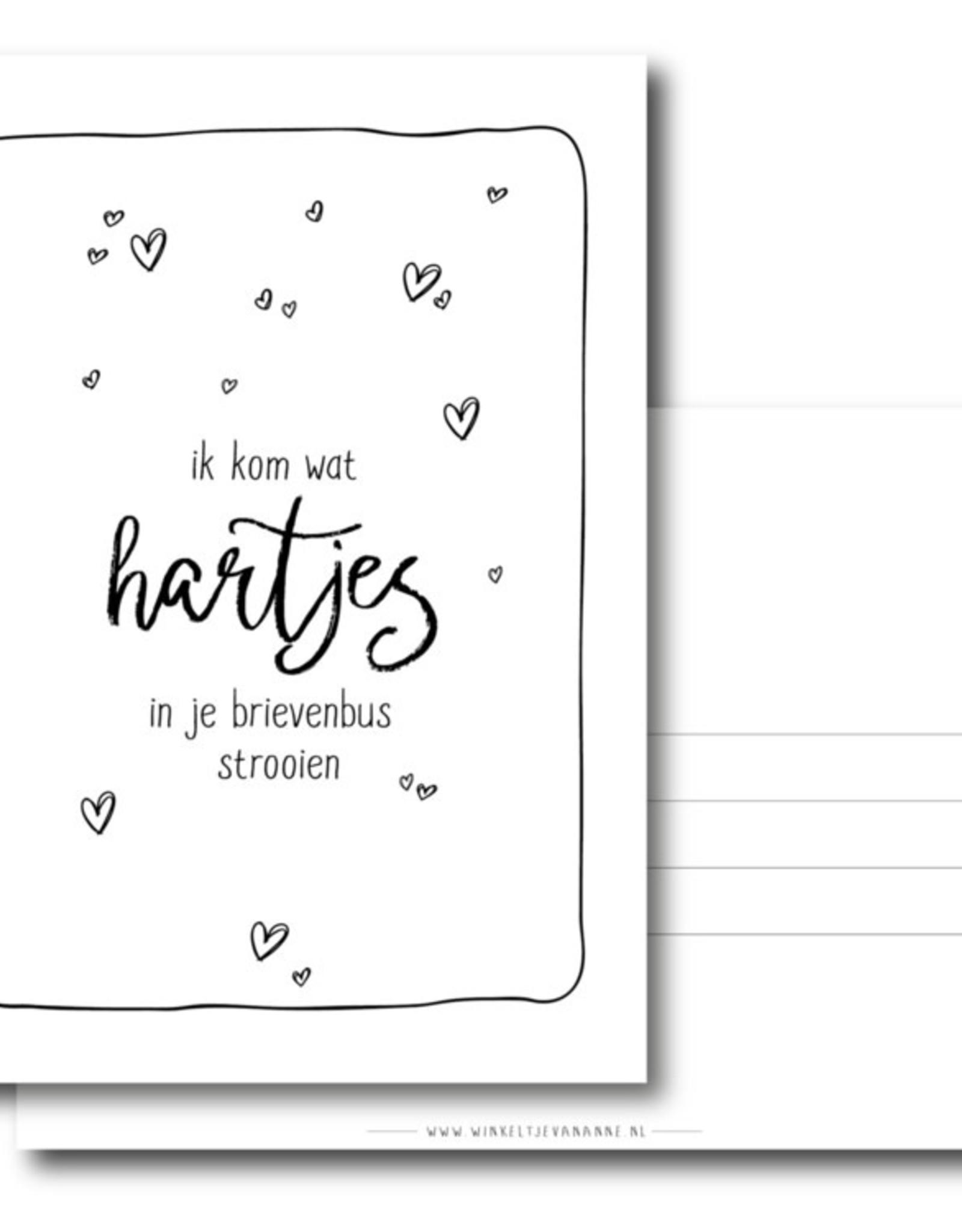 Winkeltje van Anne kaart a6 winkeltje van anne: ik kom wat hartjes in je brievenbus strooien