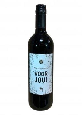 """The big gifts: wijnfles rood """"een bedankje voor jou"""""""