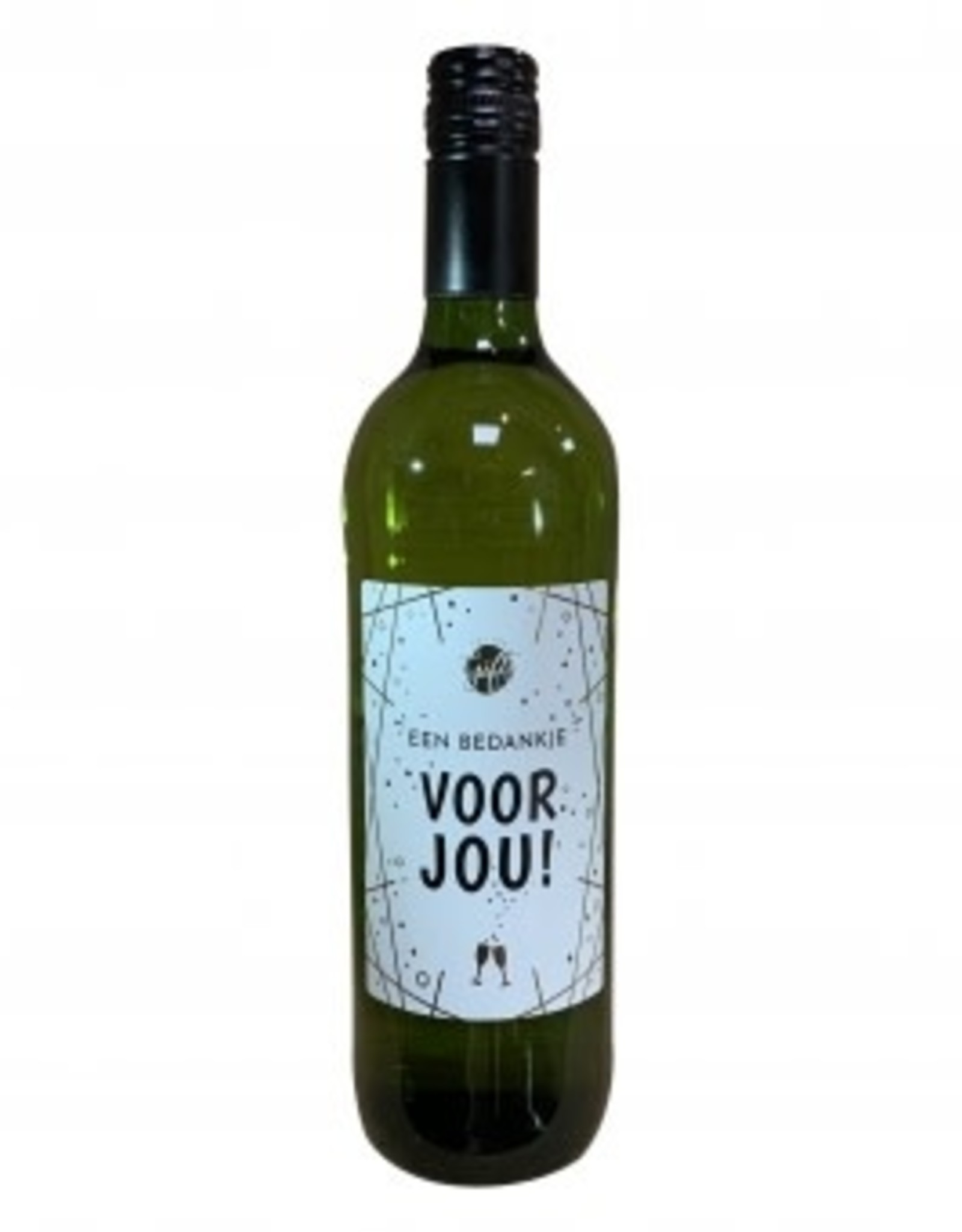"""The big gifts: wijnfles wit """"een bedankje voor jou"""""""