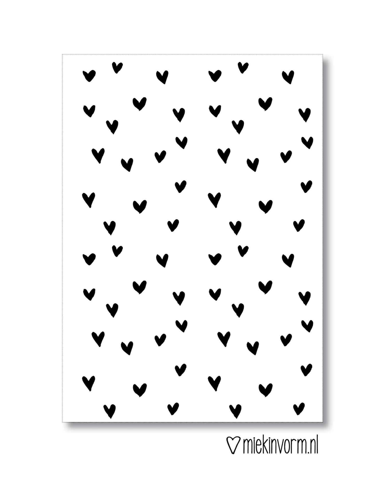 Miek in vorm kaart a6 miek in vorm: hartjes zwart wit