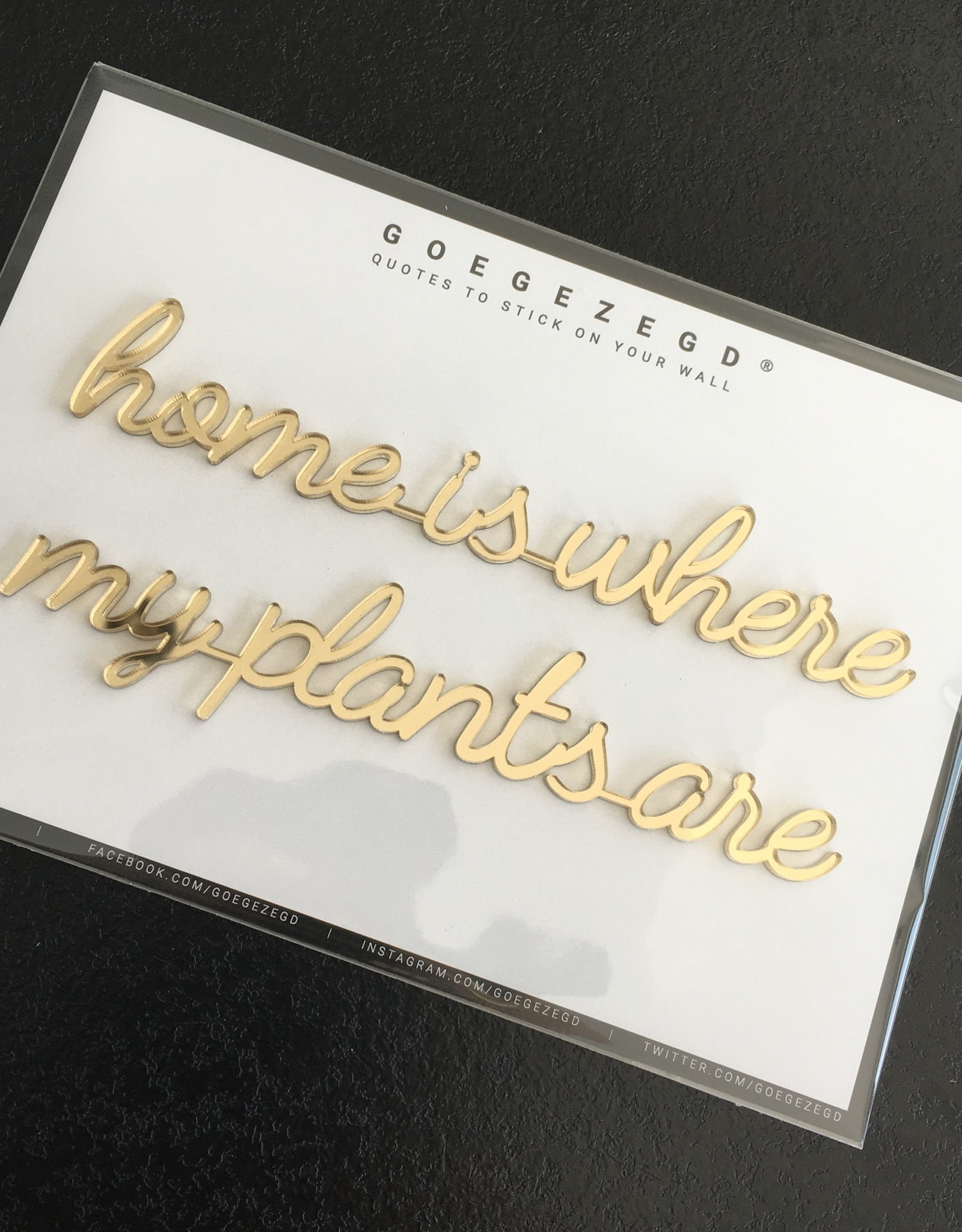 Goegezegd Goegezegd muursticker a5 goud home is where my plants are