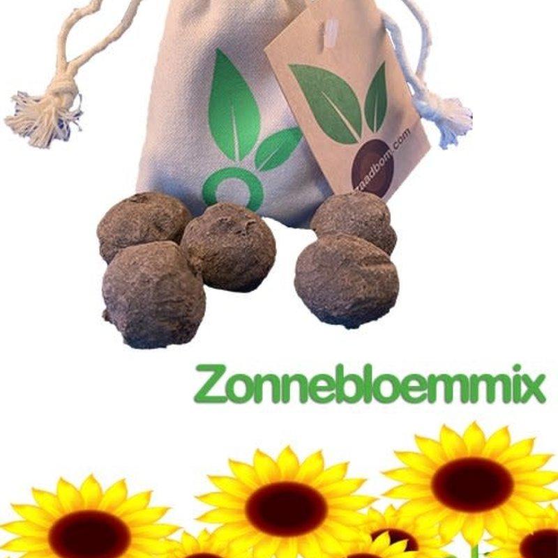 Zaadbom Zaadbom: 5 zaadbommen in een zakje: Zonnebloemenmix