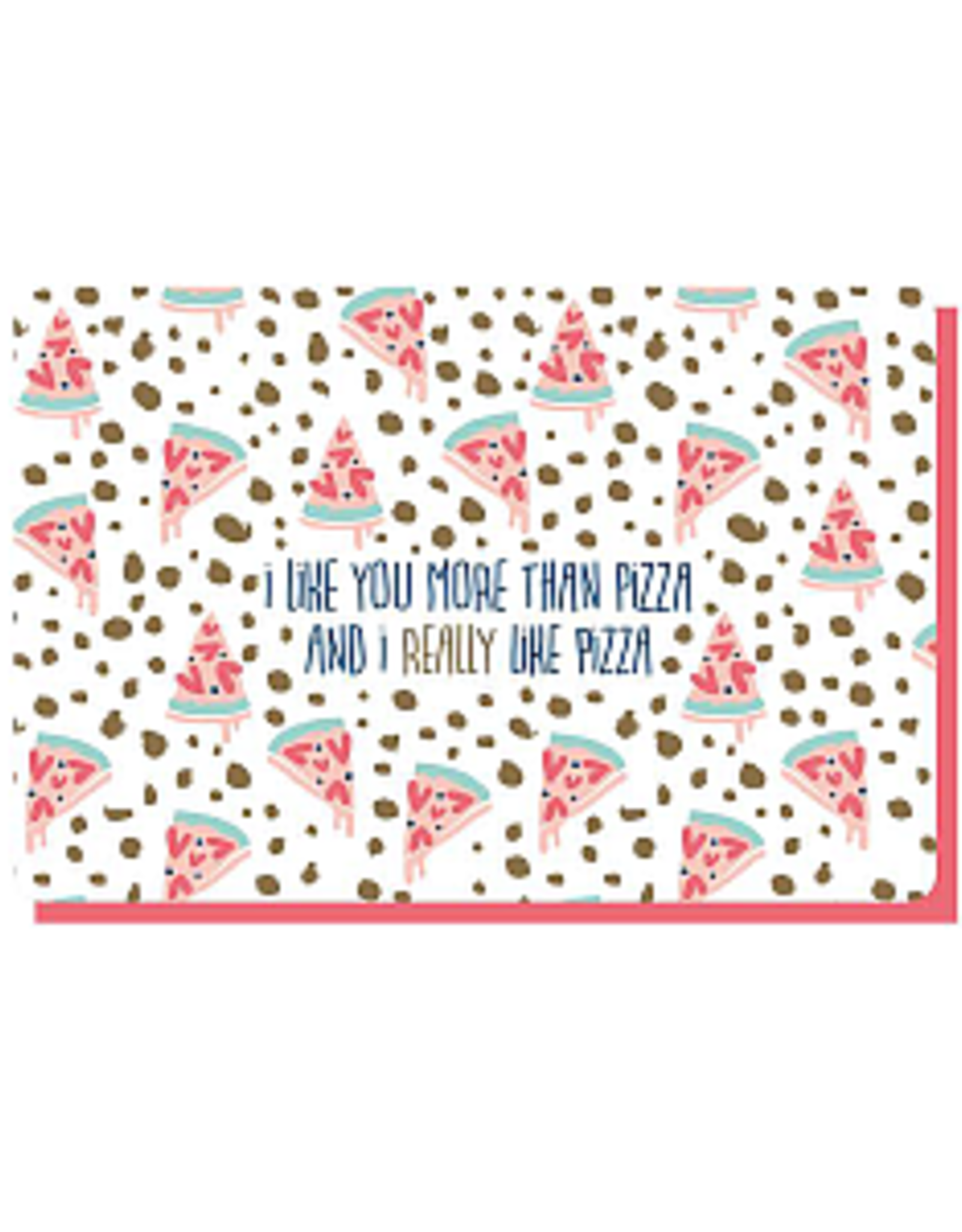 Enfant Terrible Dubbele wenskaart Enfant terrible: I like you more than pizza and i really love pizza