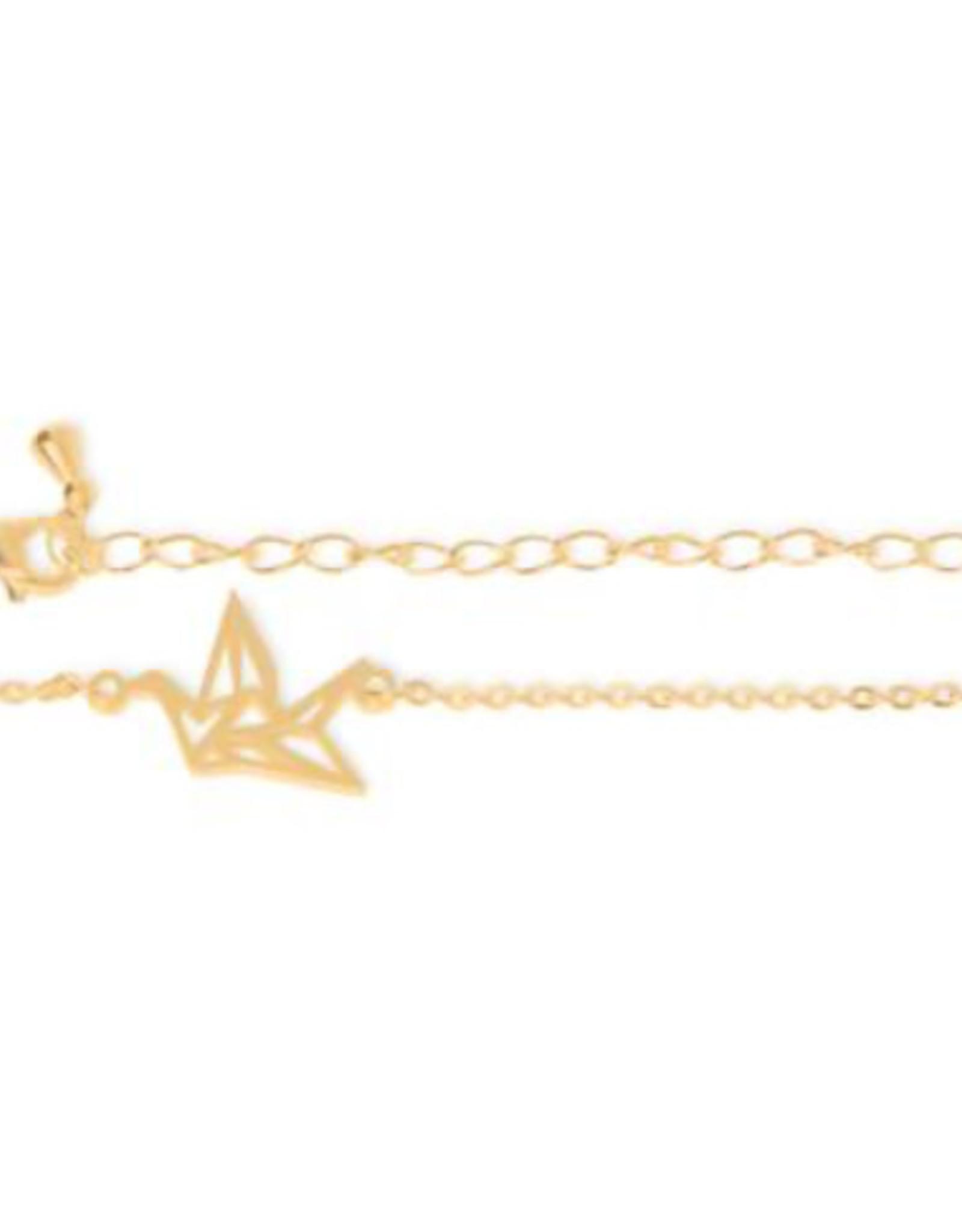 Birambi armbandje  geometric bird goud