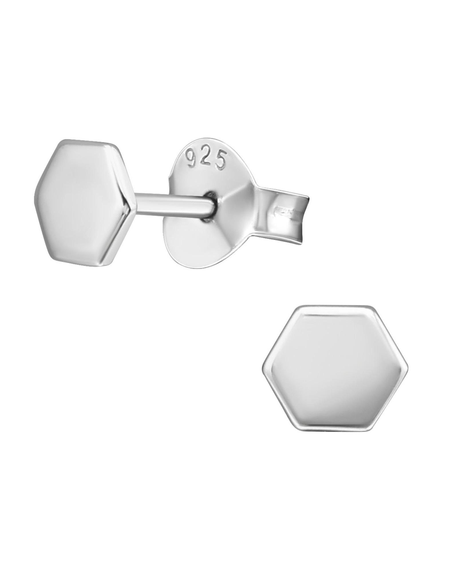 Precious jewels Precious jewels: oorstekers zeshoek zilverkleurig