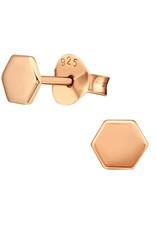 Precious jewels Precious jewels: oorstekers zeshoek rosé