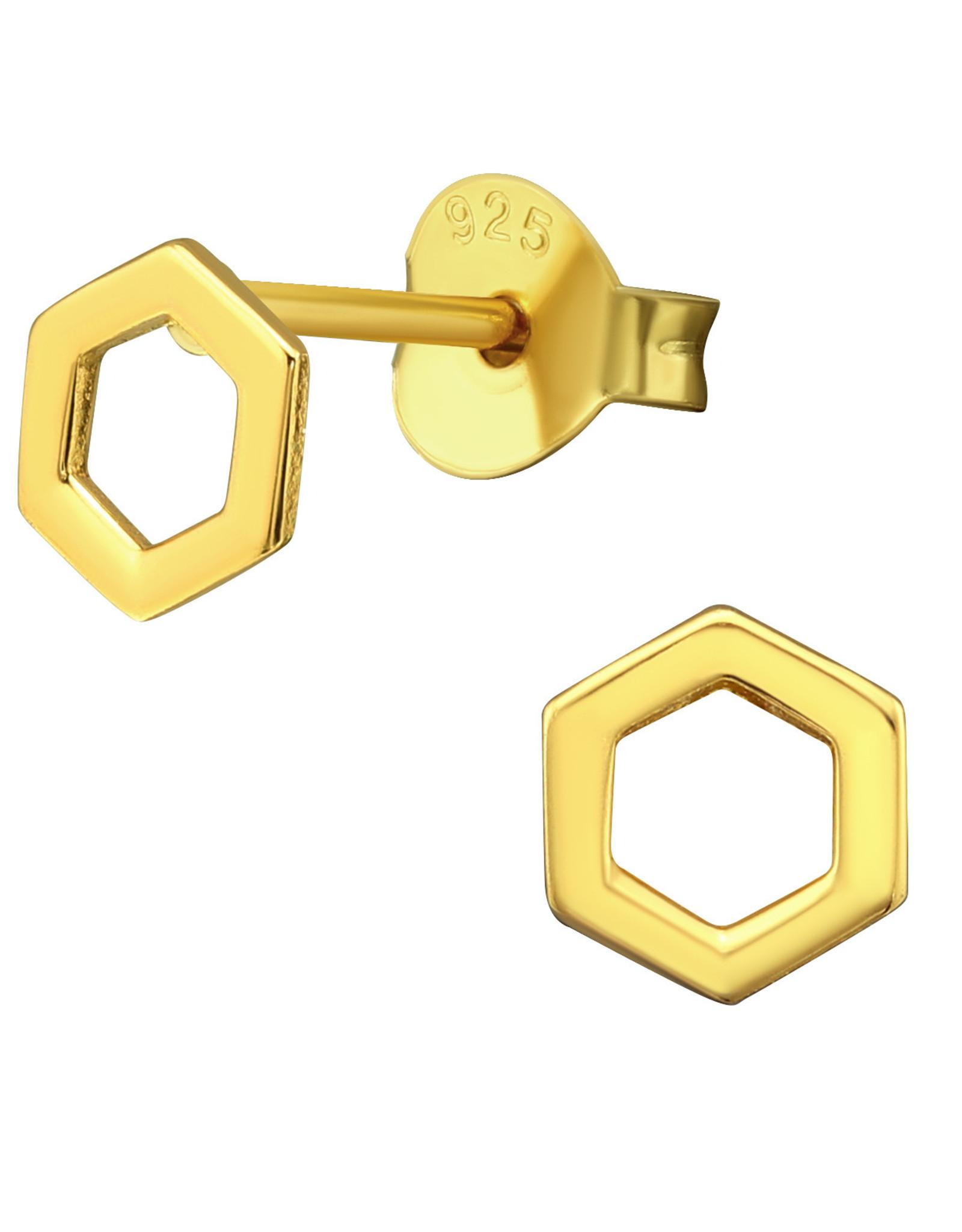 Precious jewels Precious jewels: oorstekers zeshoek open goudkleurig