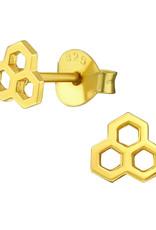 Precious jewels Precious jewels: oorstekers honingraat goudkleurig