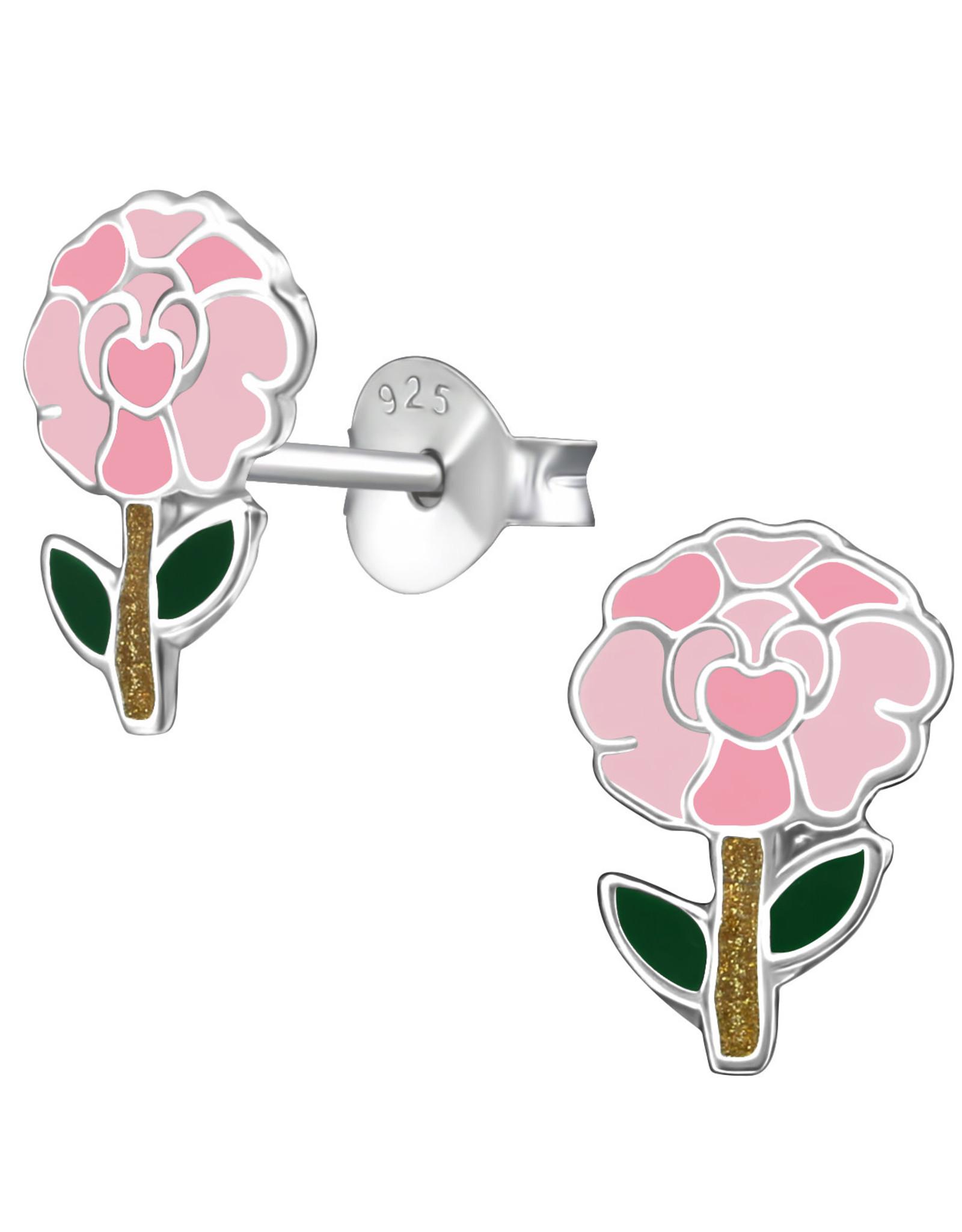 Precious jewels Precious jewels: oorstekers bloem  roze en groen