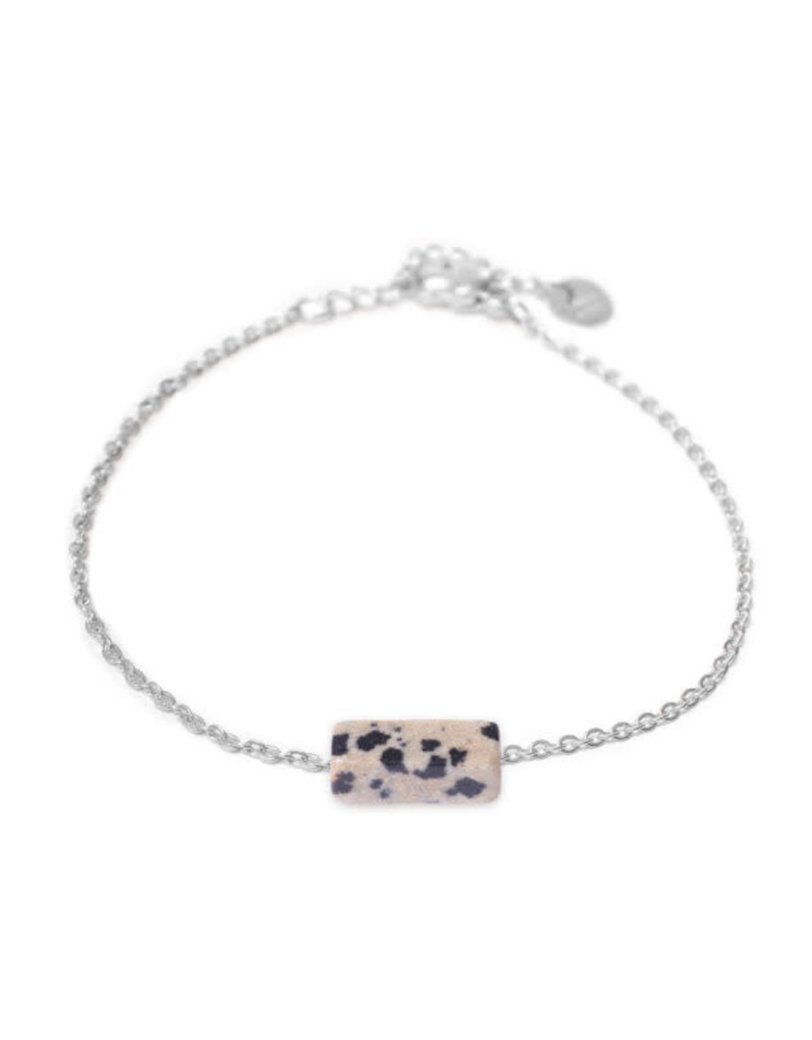 Label kiki label kiki bracelet dalmatian jasper silver