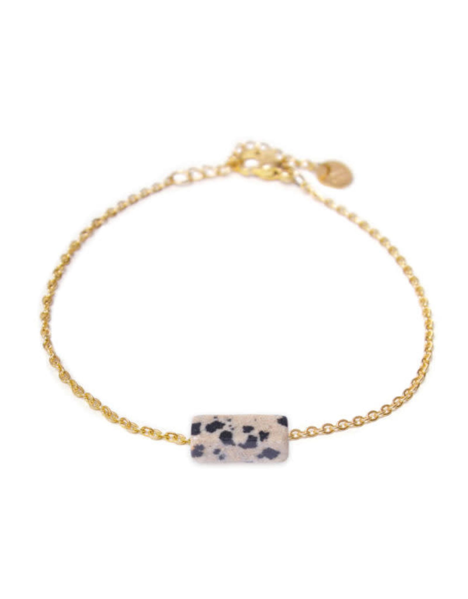 Label kiki label kiki bracelet dalmatian jasper gold