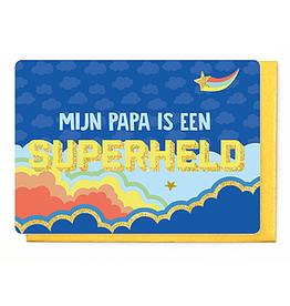 Enfant Terrible Dubbele wenskaart Enfant terrible: mijn papa is een superheld