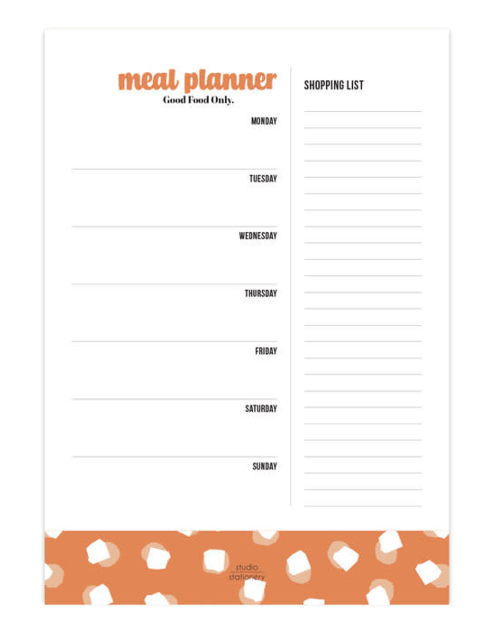 studio stationery Studio stationery A5 Noteblock Mealplanner Good Food Only