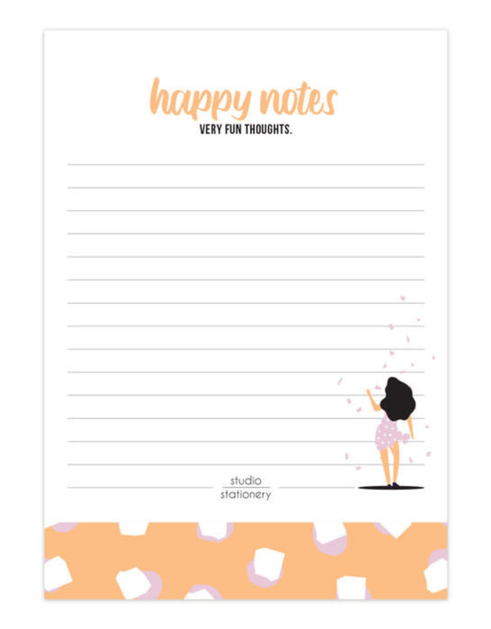 studio stationery Studio stationery A6 Noteblock Happy Notes Very Fun Blush
