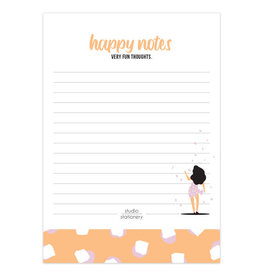 studio stationery Studio stationery A6 Noteblock Happy Notes Very Fun Blush