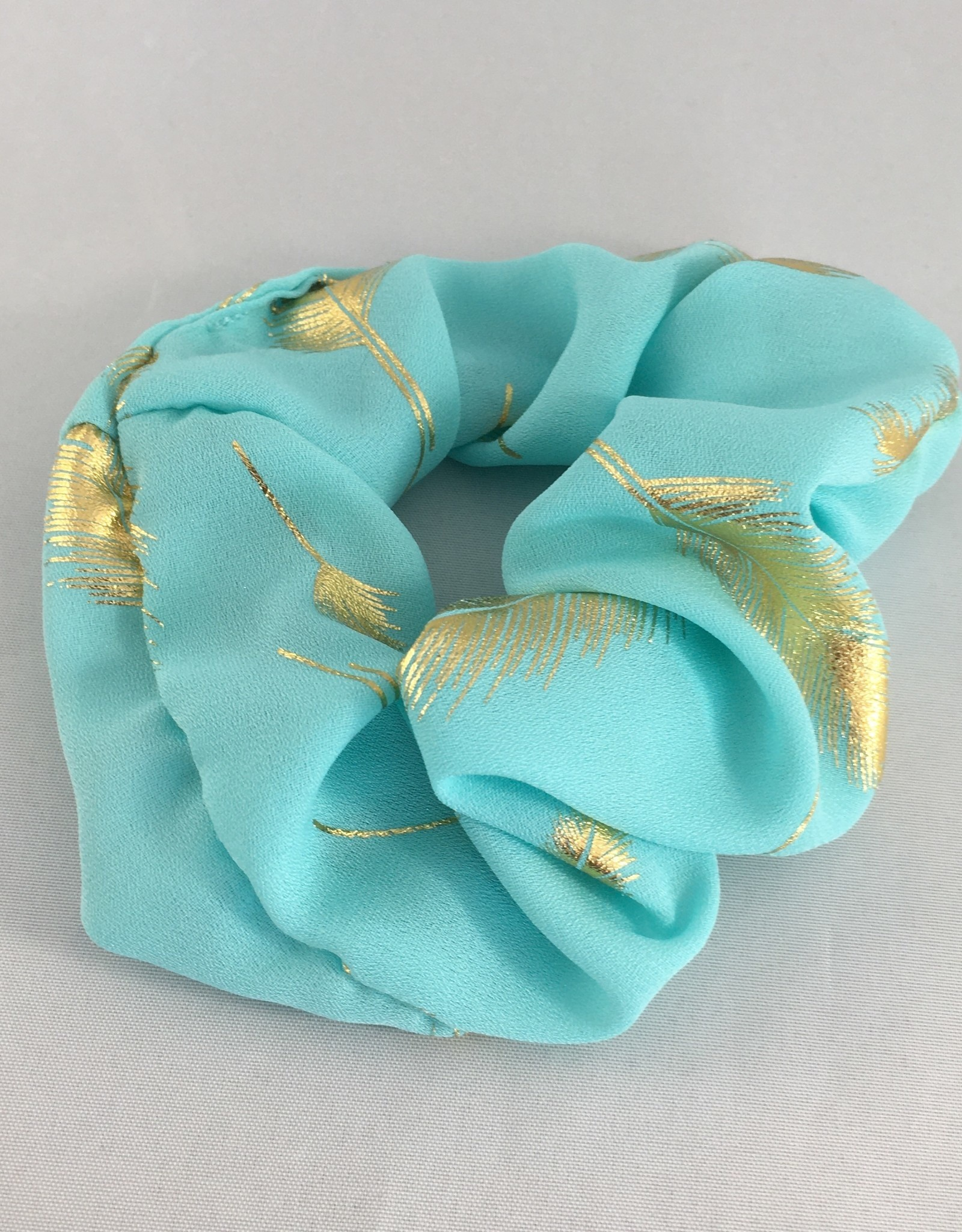 Yehwang Scrunchie turquoise pluimen