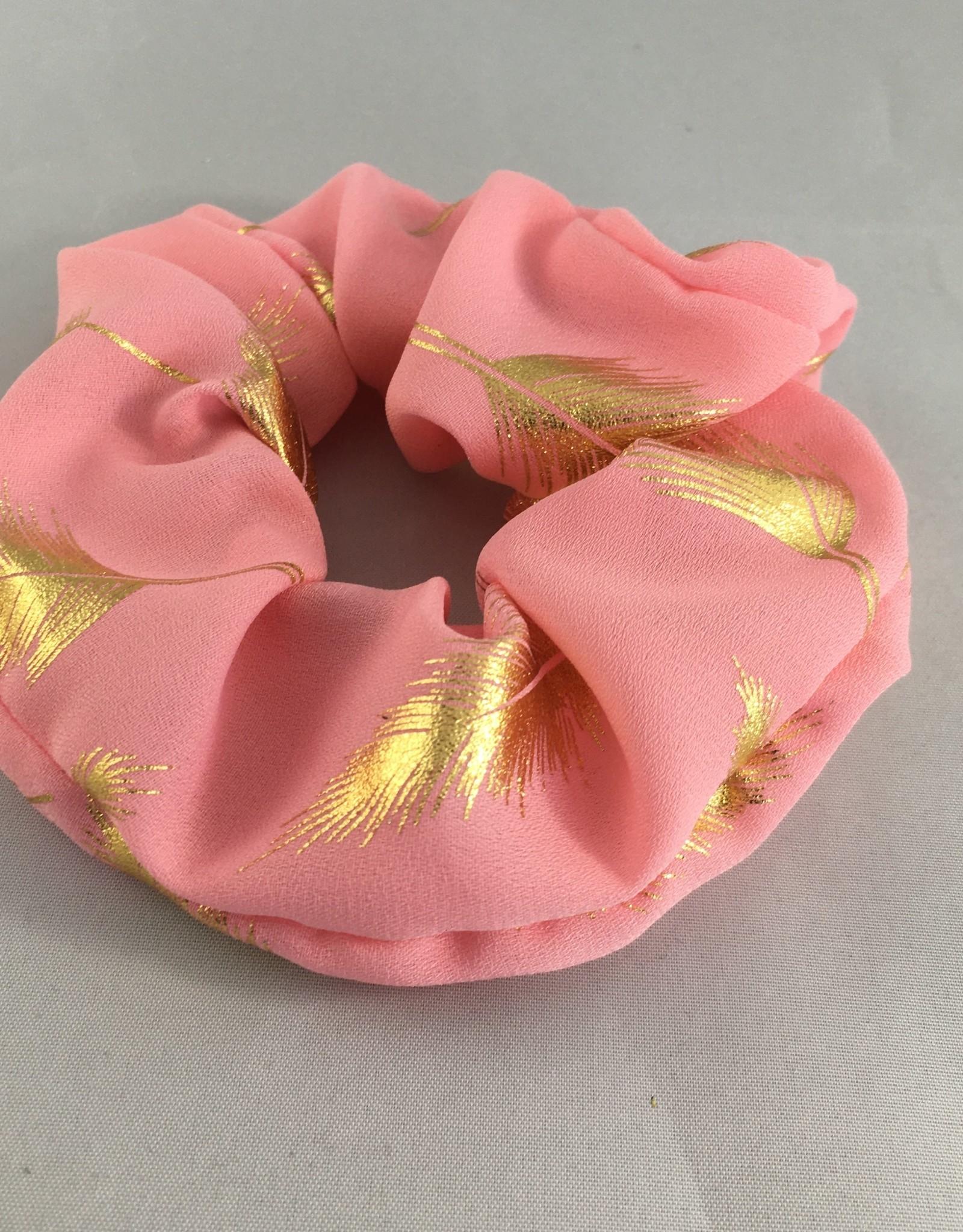 Yehwang Scrunchie roze pluimen