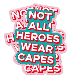 studio inktvis studio inktvis stickers XL Not all heroes wear capes munt/rood/wit