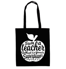 studio inktvis Studio inktvis totebag I am a teacher what is your superpower? zwart