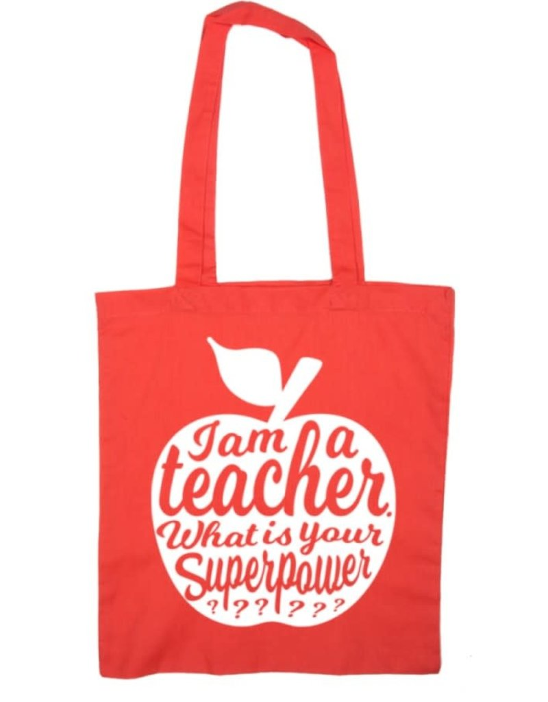studio inktvis Studio inktvis totebag I am a teacher what is your superpower? rood