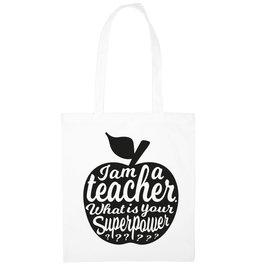 studio inktvis Studio inktvis totebag I am a teacher what is your superpower? wit