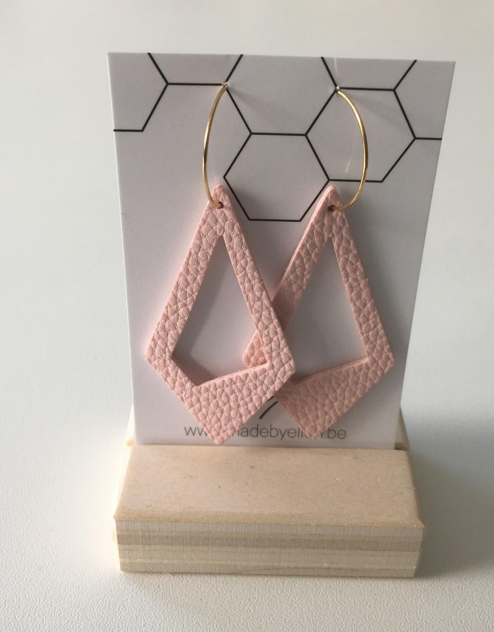 made by ellen Made by ellen 216 creolen + leder licht roze