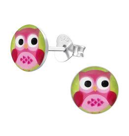 Precious jewels Precious jewels: oorstekers uiltjes roze groen