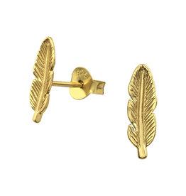 Precious jewels Precious jewels: oorstekers pluimen goudkleurig