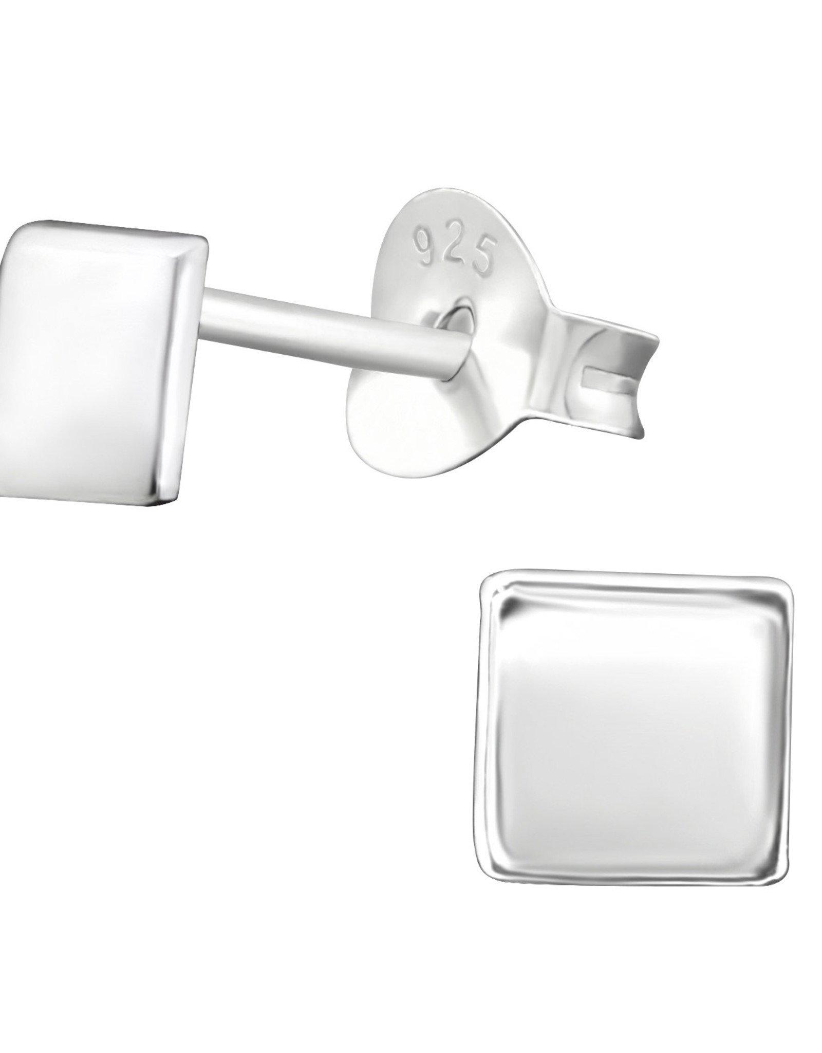 Precious jewels Precious jewels: oorstekers vierkant zilverkleurig