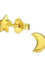 Precious jewels Precious jewels: oorstekers ster en maan goudkleurig