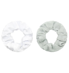 Yehwang Scrunchie 2 stuks wit/zilver