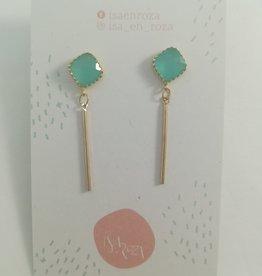 Isa en Roza Isa en Roza 088 oorstekers goud en turquoise