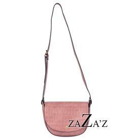 Zaza's zaza's handtas rond tasje, snake klep pink