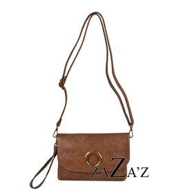 Zaza's zaza's kleine tas met klep en koperen ring camel
