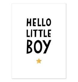 Hofje van Kieka kaart a6 Hofje van Kieka Hello little boy goud